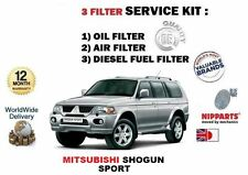 FOR MITSUBISHI SHOGUN SPORT 2.5TD 00-09 OIL AIR DIESEL FUEL FILTER SERVICE KIT