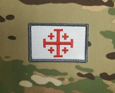Jerusalem Cross Templar Morale Patch Crusader Infidel Red White Grey