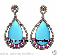 Victorian Vintage 4.25Cts Rose Cut Diamond Turquoise Ruby Silver Earring Jewelry