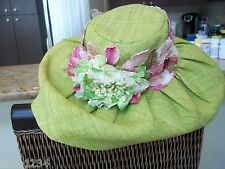 BN LISA PLUME GREEN WOVEN FINE STRAW FLOPPY WIDE BRIM HAT EMBELLISHED W FLOWERS