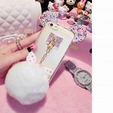 Cute Cartoon Ear Fur Ball Soft TPU Phone Cover Case For iPhone 5 5s 6 6s 7 Plus