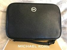 NWT MICHAEL MICHAEL KORS FULTON PEBBLED LEATHER LARGE EW CROSSBODY BAG IN BLACK