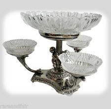 Silver plate tazza centerpiece epergne w crystal bowls - cherubs - FREE SHIPPING