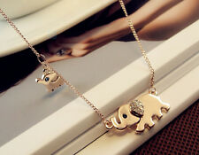 Hot Rose Gold Plated Mother Elephant With Cute Little Baby Elephant Necklace