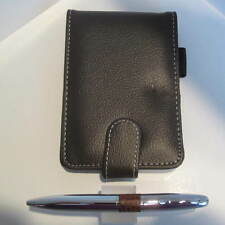 BROWN LEATHER POCKET JOTTER/NOTEBOOK+CHROME TORPEDO PEN