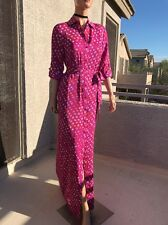 Diane Von Furstenberg Silk Floral Long Shirt Dress 6
