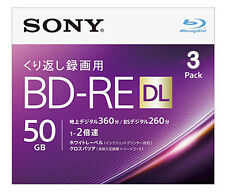 3 Sony Bluray Rewritable Discs BD-RE DL 50GB Dual Layer Bluray Printable 2X