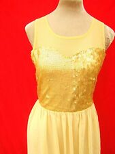 Romeo & Juliet Gold Sequin Cream Mesh net Chiffon Floaty Princess party Dress