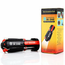8 In 1 Multi-Screwdriver 3 LED Torch Multifunction Portable Screwdriver
