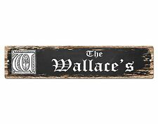 SP0719 The WALLACE'S Family name Sign Bar Store Shop Cafe Home Chic Decor Gift