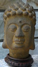 ANTIQUE QING DYNASTY HARD STONE HAND CARVED KHMER BUDDHA HEAD STATUE ON STAND