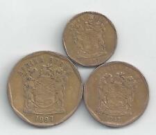3 DIFFERENT COINS from SOUTH AFRICA - 10, 20 & 50 CENTS (ALL DATING 1997)
