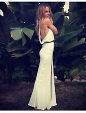 Stone Cold Fox Onyx Gown Dress Maxi Ivory White Silk Halter 2 US S 4 6 Wedding