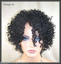 SALE! Black #1B Lace Front Wig Heat OK Iron Safe spiral curly short Mon