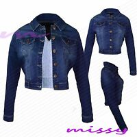 NEW WOMENS LADIES  DENIM JACKET Jean Waist Jackets Cropped Size 8 10 12 14 16