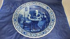 "Lg 15.75"" Royal Delft de Porceleyne Fles Signed Dutch Scene Wall Plate Charger"