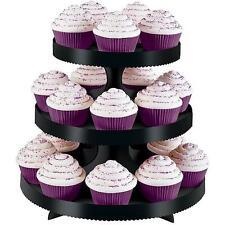 NEW Wilton 3-Tier Blk Borders Wedding Party Cupcake Dessert Stand Holder Display