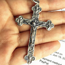 Catholic 925 Sterling Silver trinity Crucifix Cross Pendant Men's Women Gifts
