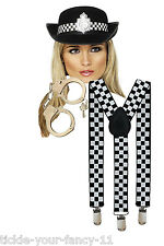 WOMENS SEXY POLICE WOMAN KIT HAT BRACES CUFFS FANCY DRESS LADIES POLICEWOMAN COP