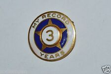 """WOW Nice Vintage """"My Record"""" Safe Driver 3 Year Star Lapel Pin Rare"""