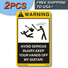 2PCS DANGER SIGNS FOR YOUR Electric OR Acoustic GUITAR CASE BOX - FREE SHIPPING