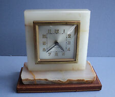 Vintage French Desk Clock - Onyx and Leather by Bayard