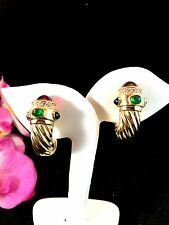 CINER GOLD-TONE GRIPOIX GLASS CABOCHON JEWELS OF INDIA HORN DESIGN CLIP EARRINGS