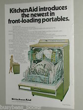 1970 KitchenAid Dishwasher advertisement page, front-load portable, green