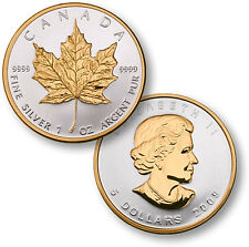 CANADIAN MAPLE LEAF WITH 24k GOLD SELECT .9999 SILVER PROOF 1 OUNCE 2014 COIN
