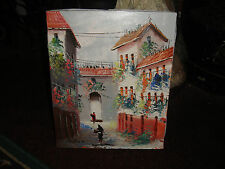 Stunning Small Oil Painting On Canvas-Signed Felix-European Village-Impression