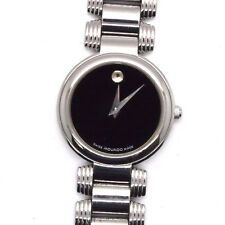 Womens Authentic Swiss Movado Serenade Stainless Black Museum Dial Watch
