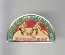 RARE PINS PIN'S .. SPORT ICE HOCKEY SUR GLACE OPEN RINGUETTE RENNES 35 1992 ~AP