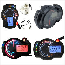 Blue/Orange LCD Digital 15000rpm Motorbike Speedometer Tachometer Odometer Gauge