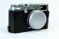 Black Leather Camera half Case Grip for Fujifilm X100T X100 X100S Bottom-open