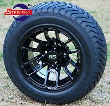 "GOLF CART 12"" Black 'LIZARD' WHEELS and 215/50-12 COMFORT RIDE DOT TIRES(4)"
