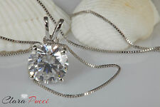 "3.25Ct Simulated Round Cut 14K White Gold Pendant Necklace 16"" Chain"
