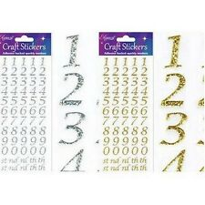 BEAUTIFUL GLITTER STYLISED NUMBER GOLD STICKER TOPPERS FOR CARDS AND CRAFTS