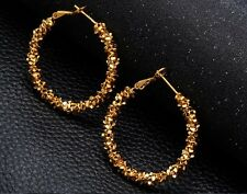 NEW Gold Crystals Hoops Earrings Balees Diwali Party Festival Ladies Boho Gift
