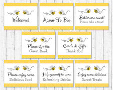Yellow & Grey Bumble Bee Baby Shower Table Signs - 8 Printable Signs