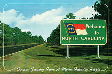 Welcome to North Carolina Road Sign, The Tar Heel State, Highway, NC - Postcard