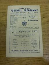 08/11/1958 Rugby League Programme: Warrington v Workington Town (folded, creased