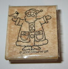 Santa Claus Stampin' Up! Cardinal Bird Rubber Stamp Christmas Buttons Hat Coat