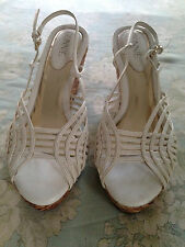 Retro WHITE LATTICE Mesh Wedge Sandals by Connie shoes woven Rattan peep-toe 7.5