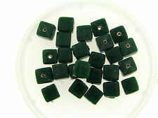 Vintage Japan Chunky Deep Forest Jungle Green Cube Glass Bead Lot