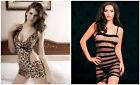 UK Sexy Women Lingerie Fishnet Leopard Crotch Nightwear Nightdress Babydoll