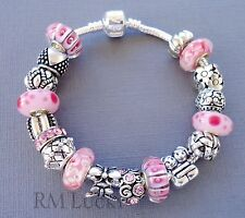 European style Charms Bracelet. Pink Murano Glass beads.  S22