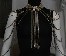 Cleopatra Shoulder Body Chain Choker Fringe Necklace Gold Chunky Statement