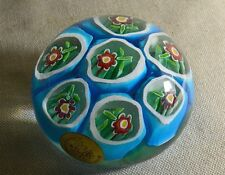 HOUSE OF GOEBEL ITALY MILLEFIORI ART GLASS PAPERWEIGHT, ORIG STICKER MURANO