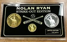"{BJSTAMPS} Nolan Ryan  Gold, Silver, Bronze Proof Set ""Strikeout"" Edition coins"