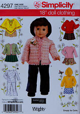 """Simplicity 4297 Sewing PATTERN for 18"""" American Girl DOLL CLOTHES Skirts Tops"""
